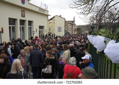 POMAS, FRANCE-MARCH 19, 2016: Crowd of people during festival Toques et Clocher to celebrate the vineyards of the Aude in Occitanie, France