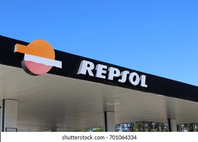 POMBAL, PORTUGAL - AUGUST 18, 2017: A Repsol logo. Repsol is a Spanish multinational oil and gas company based in Madrid. It is the 15th largest fuel refining company in the world.