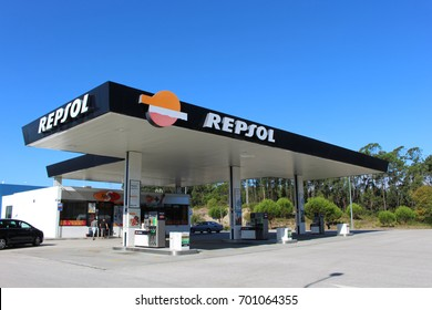 POMBAL, PORTUGAL - AUGUST 18, 2017: A Repsol gas station. Repsol is a Spanish multinational oil and gas company based in Madrid. It is the 15th largest fuel refining company in the world.