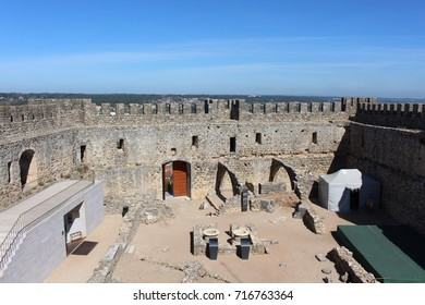 POMBAL, PORTUGAL - AUGUST 18, 2017: Courtyard. The castle of Pombal was built in 1161 by the order of the Templars.