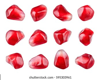 Pomegranate. Fresh raw seeds of fruit isolated on white background. Collection. Macro. With clipping path. Full depth of field.