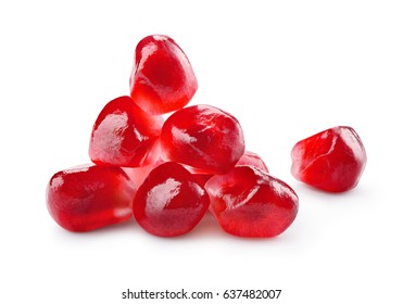 Pomegranate. Fresh raw seeds of pomegranate isolated on white background. With clipping path. Full depth of field.