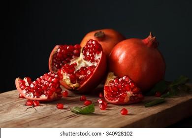 pomegranate fruit healthy food fresh organic dutch still life vegetarian juicy antioxidant