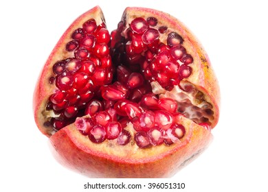 Pomegranate fruit on white background.