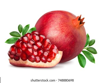 Pomegranate fruit with slice isolated on white background. Clipping path included.