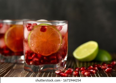 Pomegranate Gimlet - a gin based cocktail with lime juice, gin can be replaced with vodka.