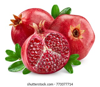 Pomegranate with green leaves Isolated on a white Clipping Path