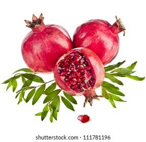 Pomegranate isolated on the white background