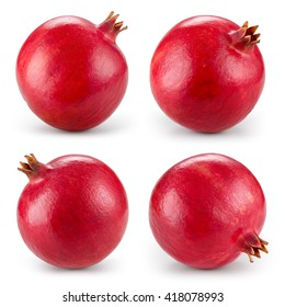 Pomegranate isolated on white background. Collection. With clipping path.