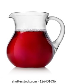 Pomegranate juice in a jug isolated on white background