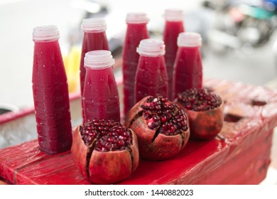 Pomegranate juice was sold at a street stall along Yaowarat road, a popular China town, Bangkok, Thailand. Pomegranate, or Punica granatum Linn is a fruit that has been popular for thousands of years.