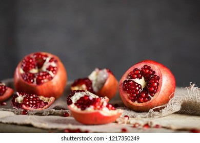 Pomegranate on a sackcloth. Closeup