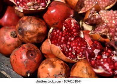 Pomegranate put on table