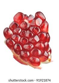 Pomegranate Seeds Close-Up Isolated on White Background