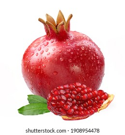 Pomegranate with slice and leaves isolated white background