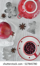 Pomegranate, star anise, tea set and cookie cutters