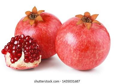 Pomegranates isolated on white background