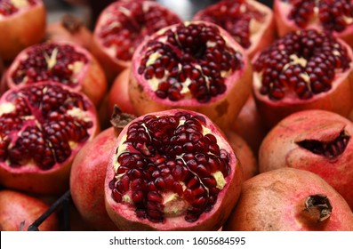 Pomegranates on the street market of Istanbul, Turkey. The pomegranate juice sellers are almost in every corner when you walk around the bazaars and streets of the country