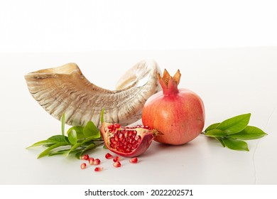 Pomegranates and shofar symbol of the Jewish holiday-Rosh Hashanah