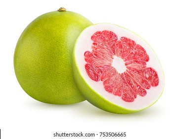 Pomelo citrus fruit isolated on white background. Clipping path included.