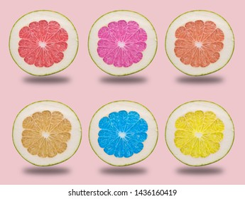 Pomelo citrus fruit with leaves isolated on white background. Clipping path included.