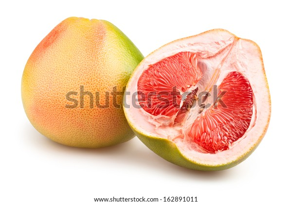 pomelo cut isolated on white
