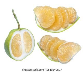 Pomelo fruit on white background,Whole pomelo with slice isolated on white background.(With clipping path)