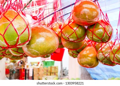 pomelo fruits hanging for chinese new year