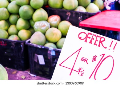 pomelo fruits for sale in market for chinese new year