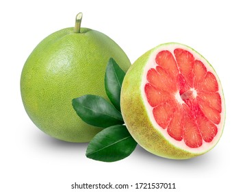 Pomelo isolated on white background with Clipping path, Red Pomelo citrus fruit with leaves on white background. Pomelo on white with Clipping path