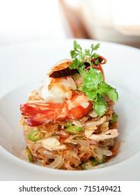 Pomelo salad or Yum Som O, Traditional Thai appetizer salad