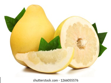 Pomelo and slices isolated on a white background.