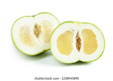 pomelo sweetie cut on white isolated background. hybrid of grapefruit and pomelo