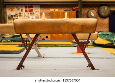 A pommel horse in a gymnastic center