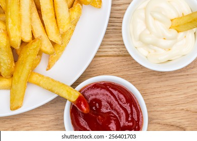 Pommes french fries with ketchup and mayonnaise