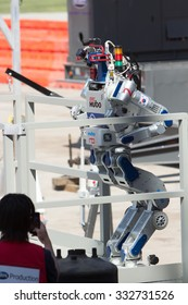 POMONA, CA - JUNE 6: Team KAIST's DRC-Hubo robot successfully completes stair climb task at the DARPA Robotics Challenge in Pomona, CA on June 6, 2015. The Korean robot went on to win the competition.