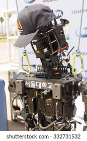 POMONA, CA - JUNE 6:  Team SNU's THORMANG robot at the DARPA Robotics Challenge in Pomona, CA on June 6, 2015. The Korean built robot finished the DRC challenge in 59 minutes for an 11th place finish.