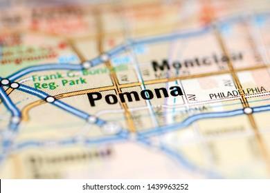 Pomona. California. USA on a geography map