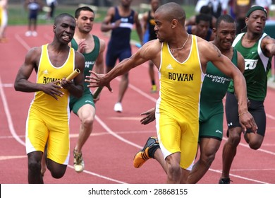POMONA, NJ - APRIL 18:  Brian Thomas and Nehemiah Burnery - Porter, compete during the CTC College Track Championships held at the Richard Stockton College of New Jersey April 18, 2009 in Pomona, NJ.