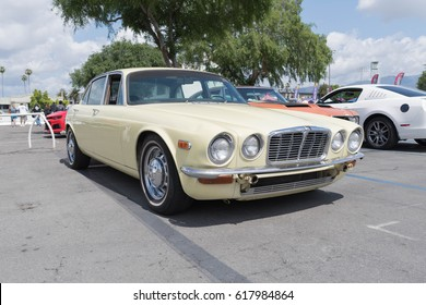 Pomona, USA - April 8, 2017: Jaguar XJ  on display during the Street Machine and Muscle Car at the Fairplex Exposition Complex.
