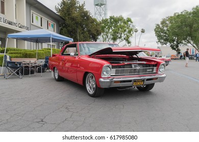 Pomona, USA - April 8, 2017: Chevrolet Nova on display during the Street Machine and Muscle Car at the Fairplex Exposition Complex.