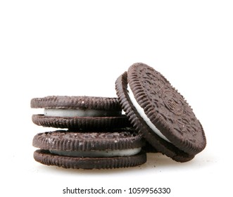 Pomorie, Bulgaria - April 02, 2018: Oreo isolated on white background. Oreo is a sandwich cookie consisting of two chocolate disks with a sweet cream filling in between.