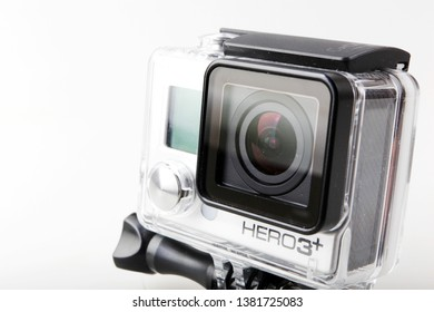 Pomorie, Bulgaria - April 25, 2019: GoPro HERO3+ Black Edition Isolated On White Background. GoPro Is A Brand Of High-Definition Personal Cameras, Often Used In Extreme Action Video Photography.