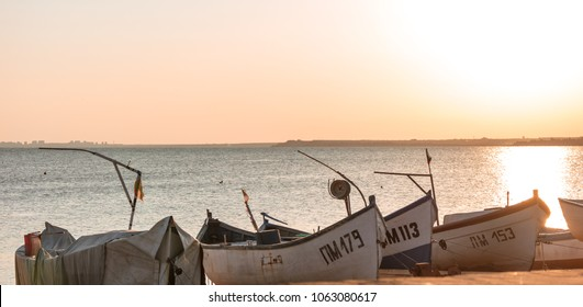 POMORIE, BULGARIA - AUGUST 26, 2017: View of the water area and the fishing boats of the seaport of the seaside resort town of Pomorie.