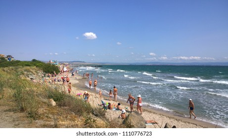 Pomorie, Bulgaria - June 10, 2018: People at the beach.