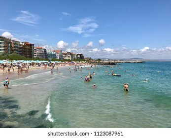 Pomorie, Bulgaria - June 29, 2018: People at the beach.