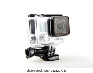 Pomorie, Bulgaria - March 01, 2019: GoPro HERO3+ Black Edition Adventure Camera. GoPro, Inc. Is An American Technology Company Founded In 2002 By Nick Woodman.