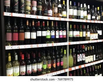 Pomorie, Bulgaria - November 06, 2017: Alcohol bottles in wine shop.