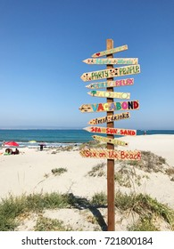 Pomorie, Bulgaria - September 18, 2017: Direction signpost on the beach.