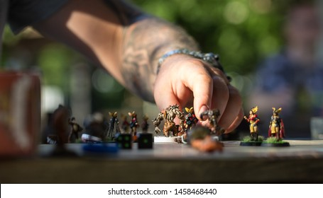 Gdańsk, Pomorskie / Poland - July 20th 2019: 3City Beach Bowl Cup, master tournament in Blood Bowl tabletop game